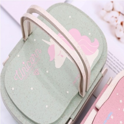 Student Lunch Box for Kid Food Container Storage Bento Boxes 2 Layer Handle Unicorn
