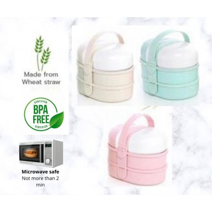 Wheat Straw Kids 2 layers Bento box with water bottle.