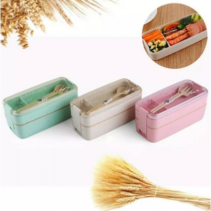 750ml Healthy Material 2 Layer Lunch Box Wheat Straw Bento Boxes Microwave Dinnerware Food Storage Container Lunchbox