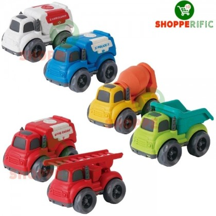 Bioplastic Material free wheel plastic car 2 piece fire truck, police ambulance and construction vehicle truck toys for kids